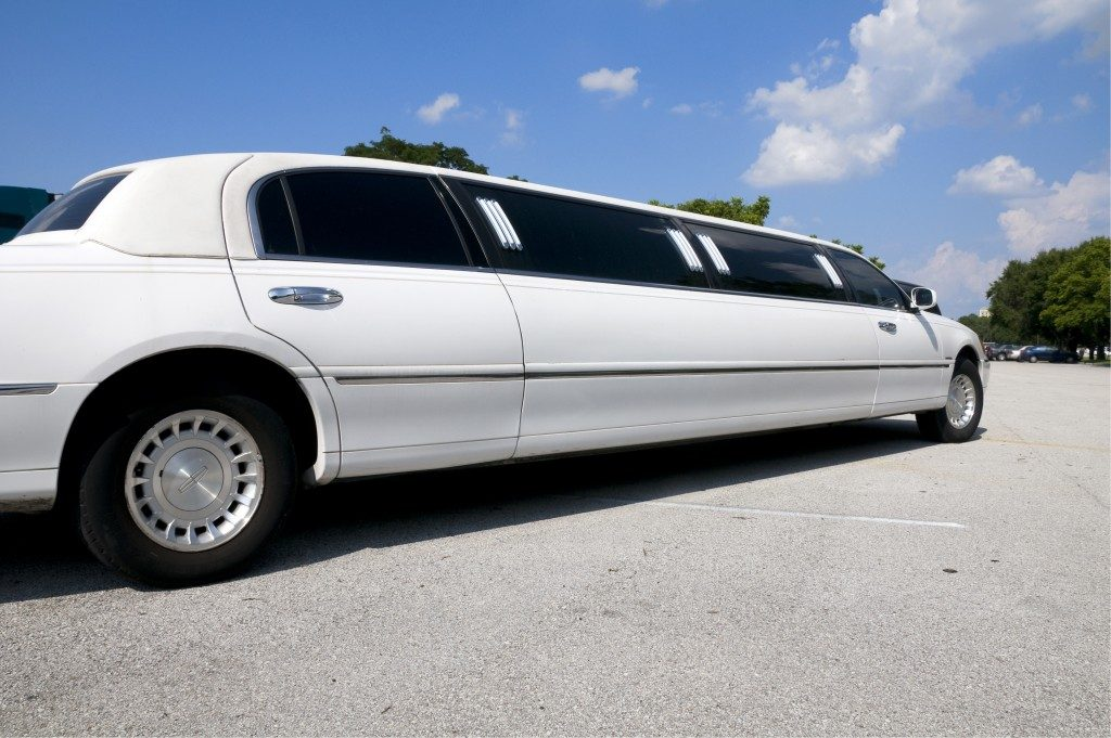 white limousine on the road