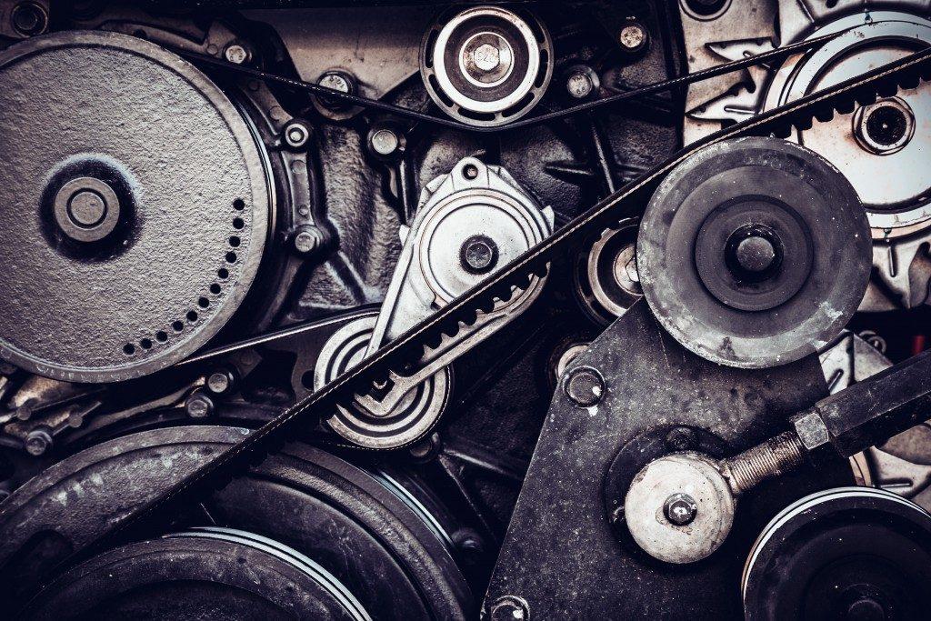 Used car engine close up