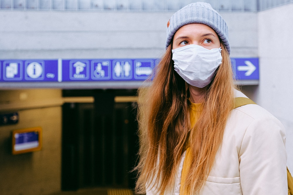 wearing a mask because of pandemic